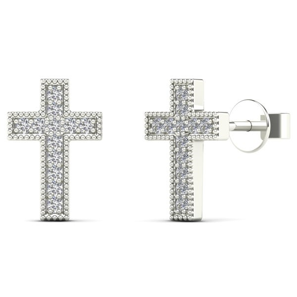 Aalilly 10k White Gold Diamond Accent Cross Stud Earrings H I I1 I2