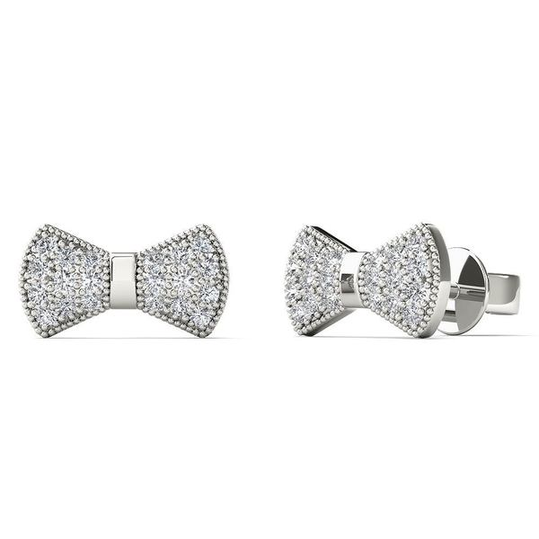 10k White Gold 1 8ct Tdw Diamond Bow Tie Stud Earrings H I I1