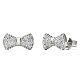 10k White Gold 1/8ct TDW Diamond Bow Tie Stud Earrings (H-I, I1-I2)