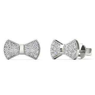 10k White Gold 1/8ct TDW Diamond Bow Tie Stud Earrings