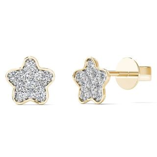 AALILLY 10k Yellow Gold Diamond Accent Star Stud Earrings