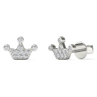 AALILLY 10k White Gold Diamond Accent Tiny Crown Stud Earrings