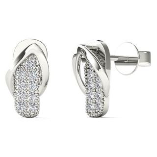 AALILLY 10k White Gold Diamond Accent Slipper Stud Earrings