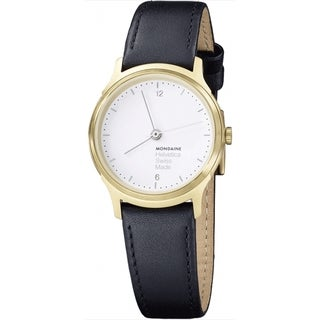 Mondaine Women's MH1L1111LB 'Helvetica No. 1 Light' Black Leather Watch