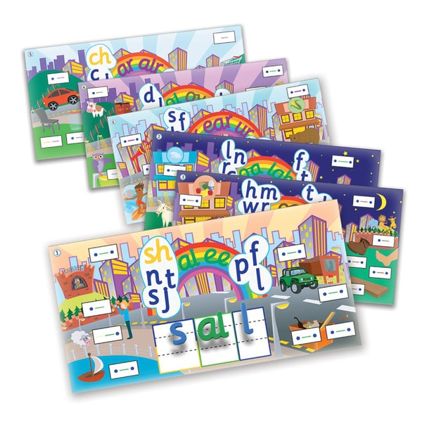 Junior Learning Rainbow Phonics Word City Landscapes - 6 Vibrant Magnetic Learning Landscape Boards