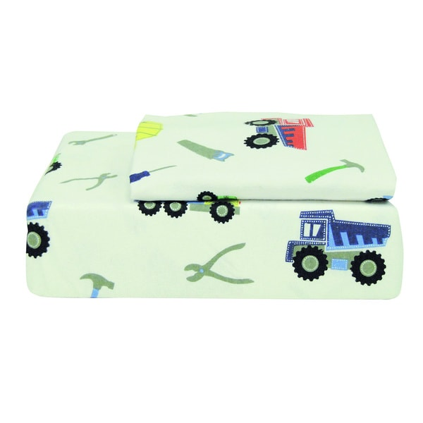Trucks and Tools Printed Flannel Sheet Set
