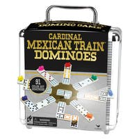 Cardinal Mexican Train Domino Game in an Aluminum Case - Black