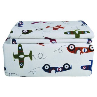Planes and Cars Printed Flannel Sheet Set