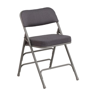 Offex Hercules Series Premium Curved Triple Braced and Quad Hinged Grey Fabric Upholstered Metal Folding Chair