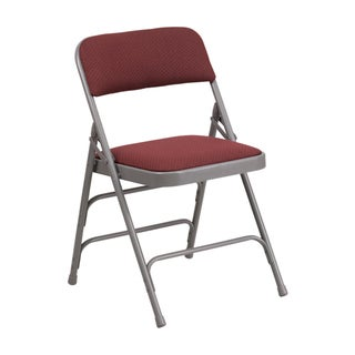 Offex Hercules Series Curved Triple Braced & Double Hinged Burgundy Patterned Fabric Upholstered Metal Folding Chair