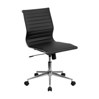 Offex Mid-back Armless Black Ribbed Upholstered Leather Swivel Conference Chair
