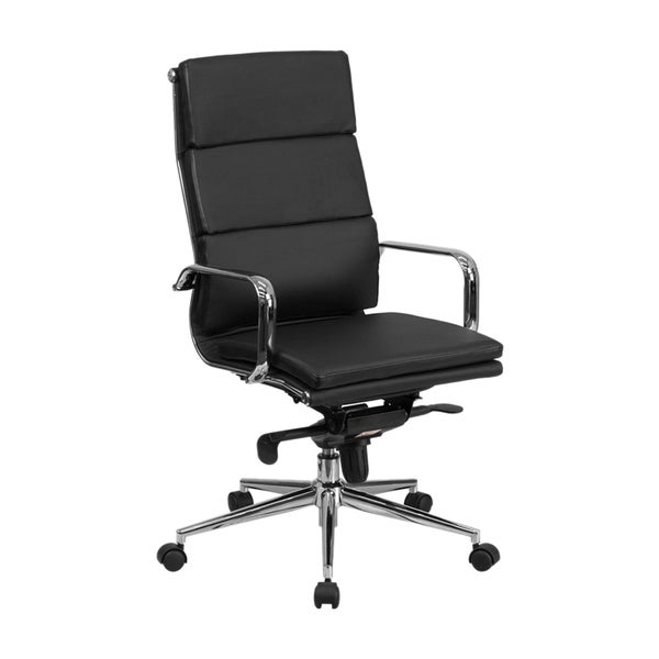 Back Leather Executive Swivel Office Chair with Synchro-tilt Mechanism