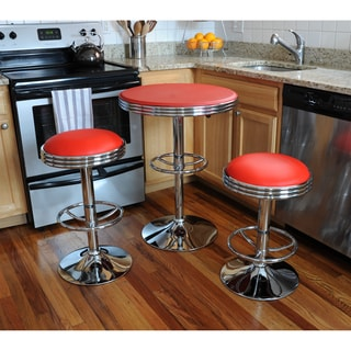 AmeriHome Retro Red Soda Shop Bistro Set (3 Piece Set)