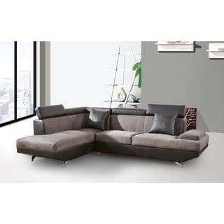 Genoa Left Hand Facing Sectional Light Grey and Brown