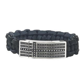 Men's St. Steel and Leather ID Style Bracelet By Ever One|https://ak1.ostkcdn.com/images/products/11319957/P18297385.jpg?impolicy=medium