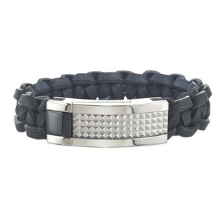 Men's St. Steel and Leather ID Style Bracelet By Ever One