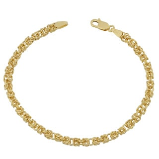Fremada 10k Yellow Gold 3.6-mm High Polish Square Byzantine Bracelet