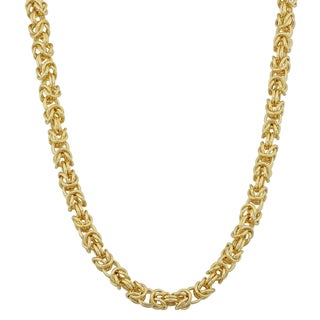 Fremada 10k Yellow Gold 3.6-mm High Polish Square Byzantine Necklace (18 or 20 inches)