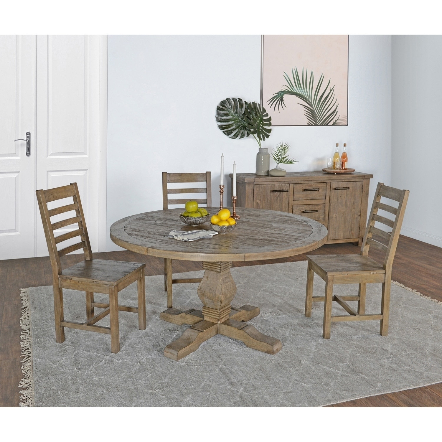Reclaimed Dining Room Table: Table Dining Room Kitchen Round Reclaimed Pine Wood Desert