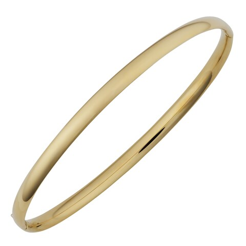 Fremada 14k Yellow Gold 4-mm High Polish Hinged Bangle