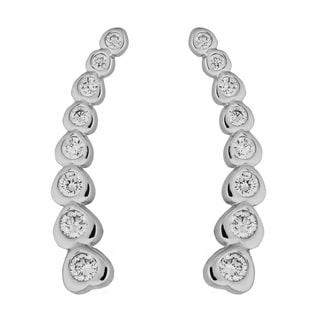 Link to Fremada Rhodium-plated Sterling Silver Bezel Set Cubic Zirconia Heart Curve Earrings Similar Items in Earrings