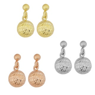Argento Italia Gold Over Silver 10-mm Diamond-cut and High Polish Ball Drop Earrings (white, yellow or rose)