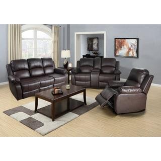 Utica Dark Brown Reclining Sofa Set