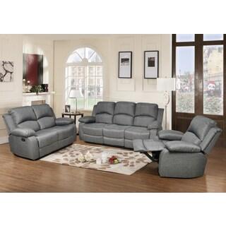 Odessa Grey Linen Reclining Sofa Set