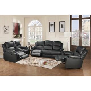 Utica Black Reclining Sofa Set