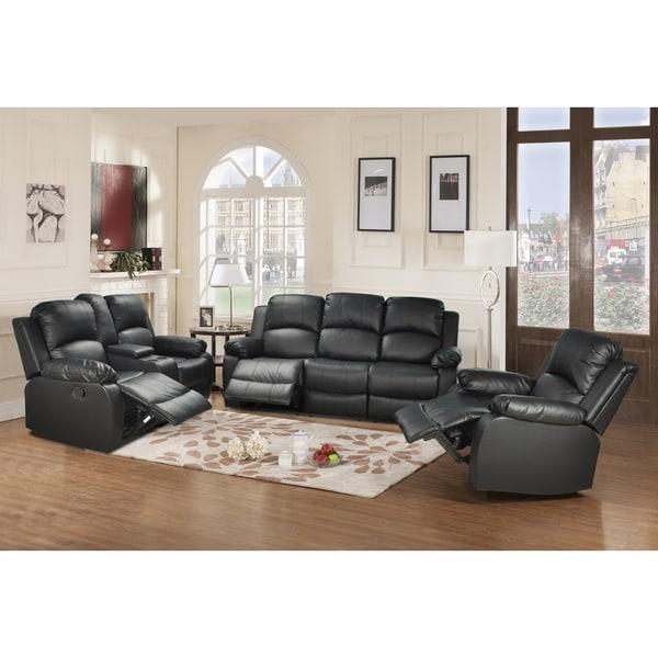 Living Room Furniture Sets Black: Utica Black Reclining Sofa Set