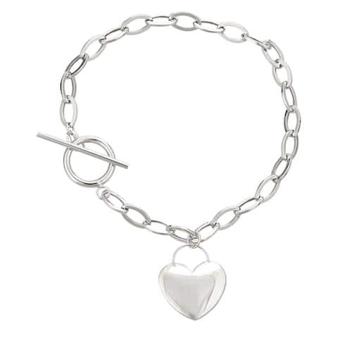 Decadence 14K White Gold 7.5-inch Heart Toggle Bracelet