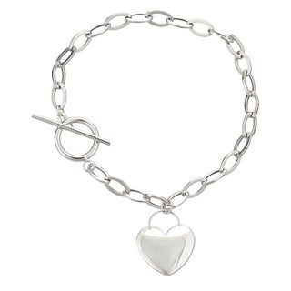Decadence 14K White Gold 7.5-inch Heart Toggle Bracelet
