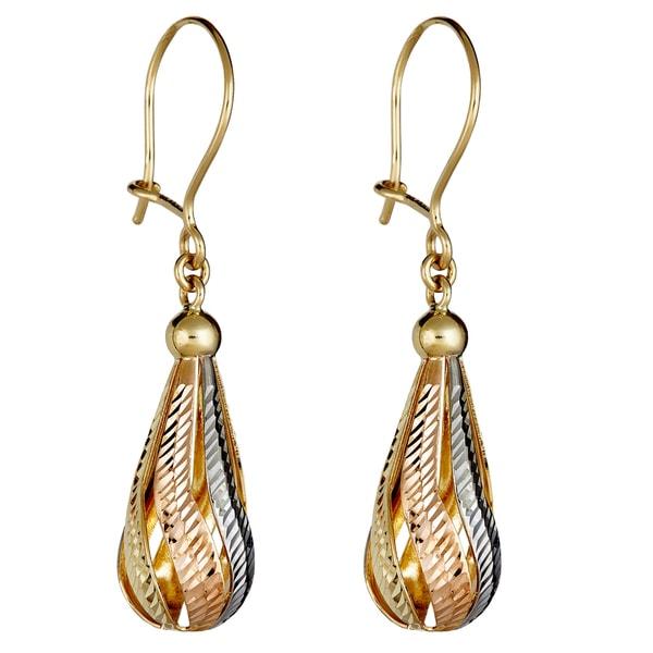 Gold dangling earrings 9 carat yellow /& white diamond cut gold 3 tier drop