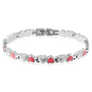 Women's Dual Finish Stainless Steel Heart Link Bracelet - 8.25 inches (7mm Wide)