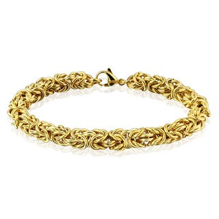 Women's Gold Plated Polished Stainless Steel Byzantine Chain Bracelet - 7.75 inches (7mm Wide)