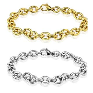 Men's Polished Stainless Steel Cable Chain Bracelet - 8.5 inches (8mm Wide) (Option: Yellow)|https://ak1.ostkcdn.com/images/products/11320075/P18297491.jpg?impolicy=medium