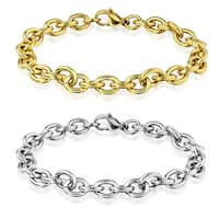 Men's Polished Stainless Steel Chain Bracelet (8mm) - 8 inches
