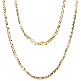 Simon Frank 14k Yellow Gold or Rhodium Overlay Franco Chain