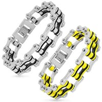 Men's Polished Stainless Steel Bicycle Chain Bracelet - 9 inches (20mm Wide)