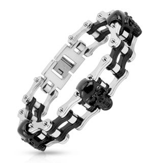Men's Two Tone Polished Stainless Steel Skull Bicycle Chain Bracelet - 8.75 inches (22mm Wide)