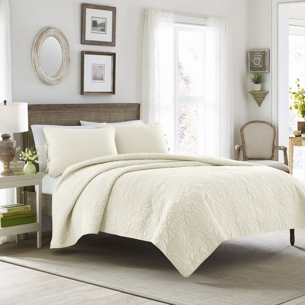 Laura Ashley Felicity Ivory Cotton 3-piece Quilt Set - On Sale ... : ivory quilt set - Adamdwight.com