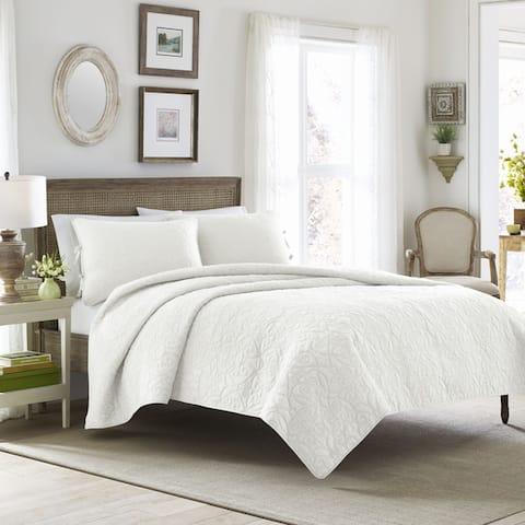 Laura Ashley Felicity Cotton Reversible White Quilt Set