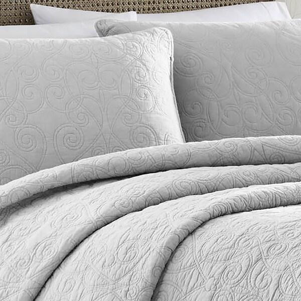 Laura Ashley Felicity Soft Grey Cotton 3-piece Quilt Set - On Sale ... : soft cotton quilt - Adamdwight.com