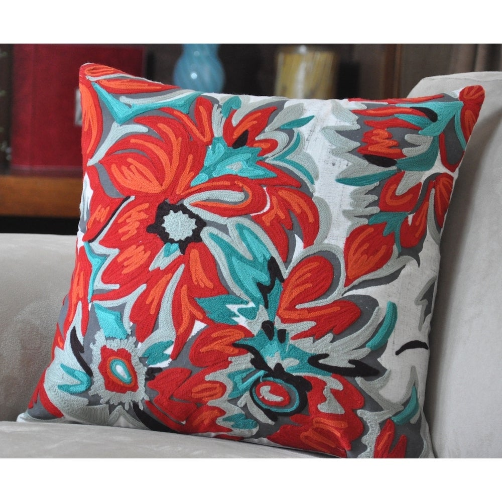Shop Cottage Home Kia Cotton 17 Inch Throw Pillow - Overstock - 11320107