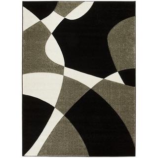 LYKE Home Contemporary Black Geometric Area Rug (5' x 7')