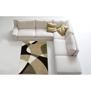 LYKE Home Contemporary Champagne Area Rug (5' x 7')