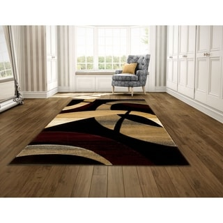 LYKE Home Hand-carved Black Abstract Area Rug (8' x 11')