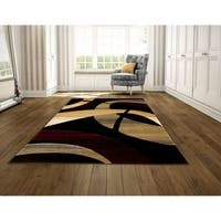 LYKE Home Hand-carved Black Abstract Area Rug - 8' x 11'
