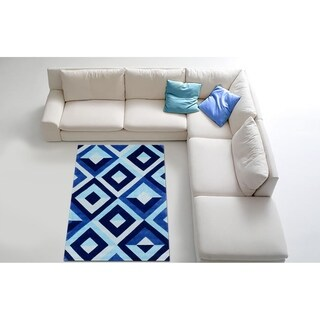 LYKE Home Hand-carved Blue Diamond Area Rug 8x10