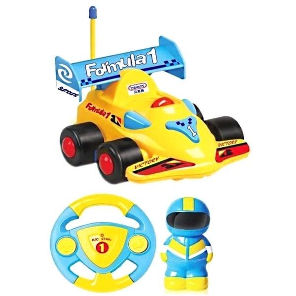 Cartoon Series Toddler Yellow R/C Radio Control Formula 1 Car